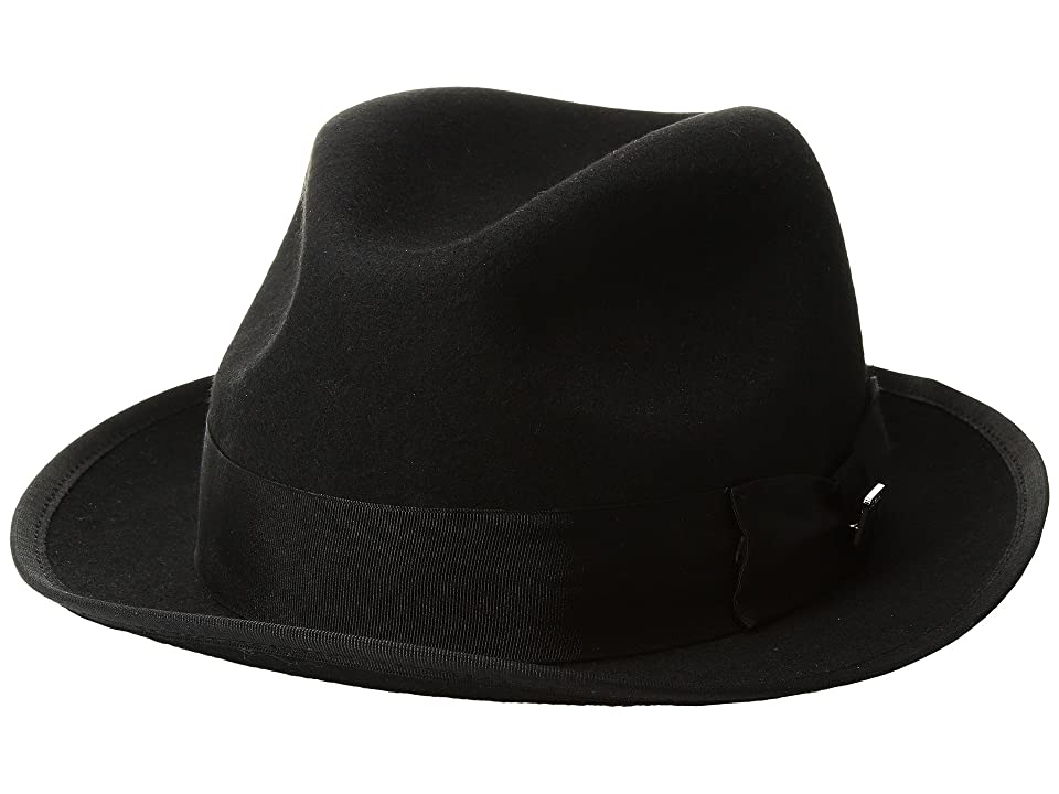 1920s Mens Hats & Caps | Gatsby, Peaky Blinders, Gangster Stacy Adams Pinch Front Wool Fedora Black Fedora Hats $57.50 AT vintagedancer.com