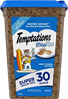Temptations MixUps Crunchy and Soft Cat Treats, Surfer's Delight Flavor, 30 oz. Tub