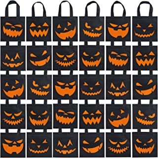 Elcoho 30 Packs Halloween Trick or Treat Non-woven Bags Pumpkin Bags Party Goody Tote Bags Gift Bag with Handles Party Favors, 8 by 8 Inches, 10 Styles