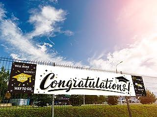 Dazonge 2021 Graduation Decorations Black & White - Congratulations Graduation Banner for Party Supplies - Large Graduatio...
