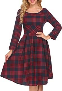 ACEVOG Women's Long Sleeve Plaid Print A-Line Flare Midi Dress