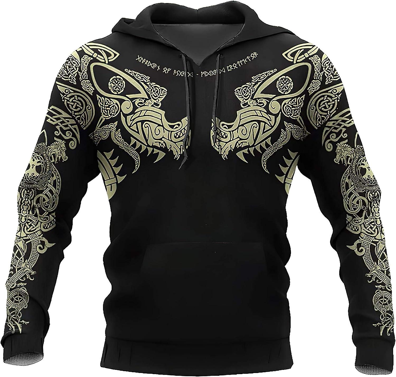 スーパーセール VIKIGG Men's Viking Hoodie Warrior Retro Thin Jacket Casual 安値 Swea