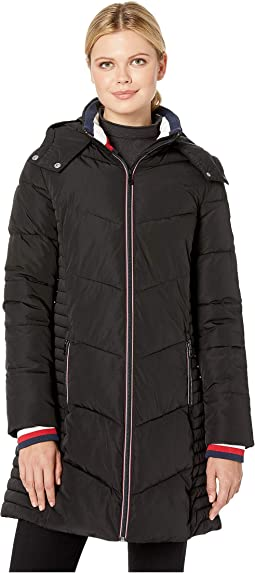 Long Chevron Quilted Puffer Coat w/ Hood
