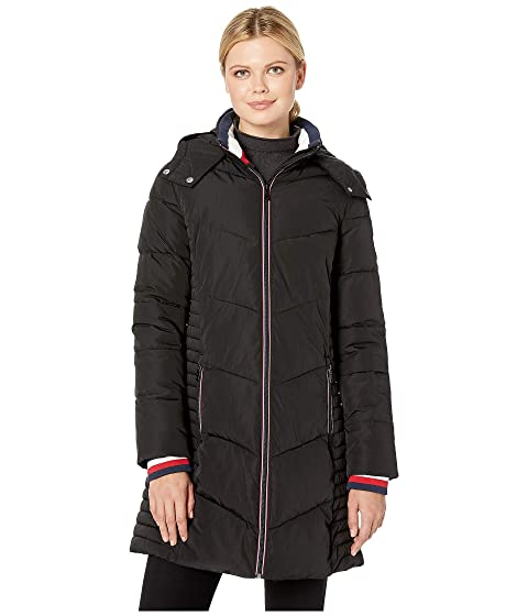 Tommy Hilfiger Long Chevron Quilted Puffer Coat w/ Hood at 6pm