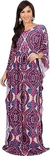 Womens Long Kaftan Boho Print Jersey Flowy Casual Abaya Gown Maxi Dress