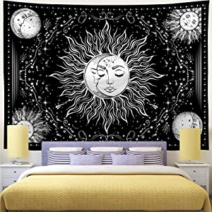 Cusaota Sun and Moon Tapestry Mystic Burning Sun Tapestries Black and White Psychedelic Stars Wall Hanging Tapestry for Living Room and Bedroom Aesthetic decor (H59.1