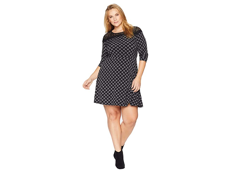 MICHAEL Michael Kors Plus Size Foulard Print Lace Dress (Black/Gunmetal) Women