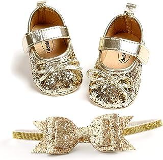 Premier Pas Bébé Fille Chaussures + Bandeau Princesse Douce, Chaussures Nouveau-Né Anti-Dérapant Chaussures de Baptême Mar...