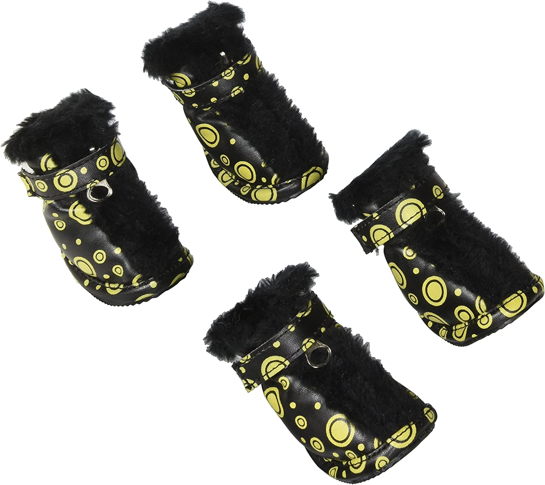 Pet Life Small Fashionable Plush Fur Pet Boots  Black & Yellow by Pet Life