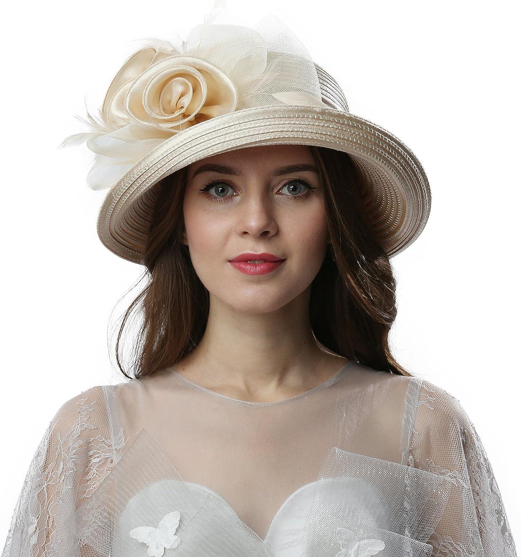 Women Dress Hats for Kentucky Derby Day, Party,Wedding Cloche Bowler Fascinators Fancy Hat