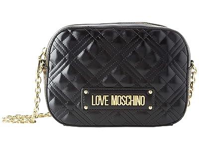 LOVE Moschino Small Quilted Crossbody (Black) Handbags