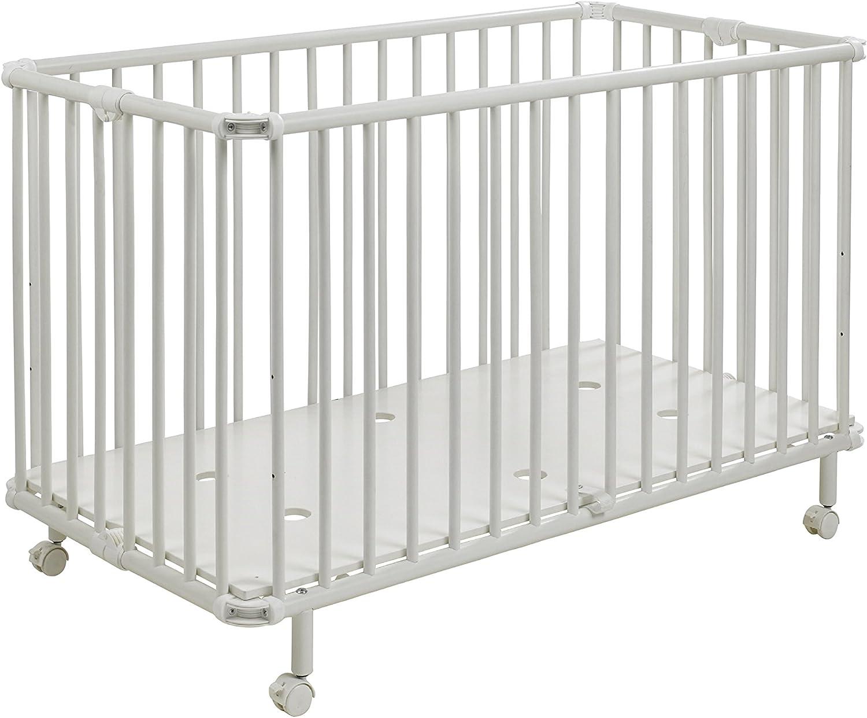 Geuther - Kinderbett Mayla, TüV geprüft, klappbar, hhenverstellbar, Rollen mit Bremse, 60 x 120 cm, wei