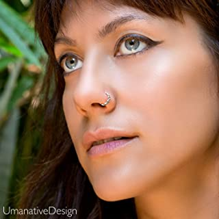 Nose Ring, Sterling Silver Trible Indian Boho Ethnic Nose Hoop Piercing Earring, fits Tragus, Earlobes, Helix, Septum, 20g, Handmade Piercing Jewelry
