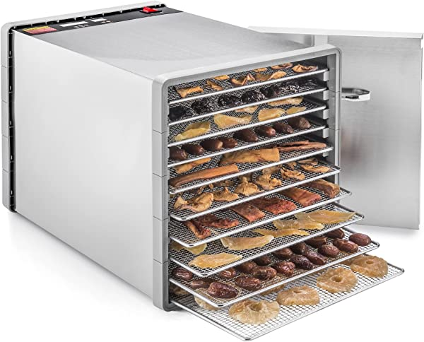 STX International STX DEH 600W SST CB Stainless Steel Dehydra 10 Tray Food And Jerky Dehydrator With 40 Hour Timer PLUS A FREE All New Dehydrating Made Easy Cookbook On CD With Over 270 Recipes