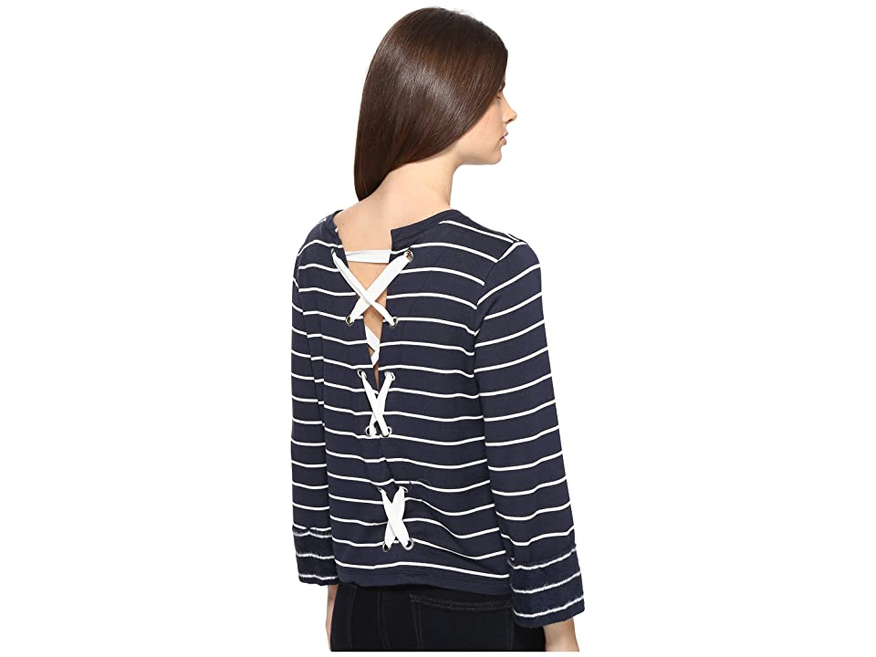 Splendid Dune Stripe Lace Up Back Top (Navy/White) Women