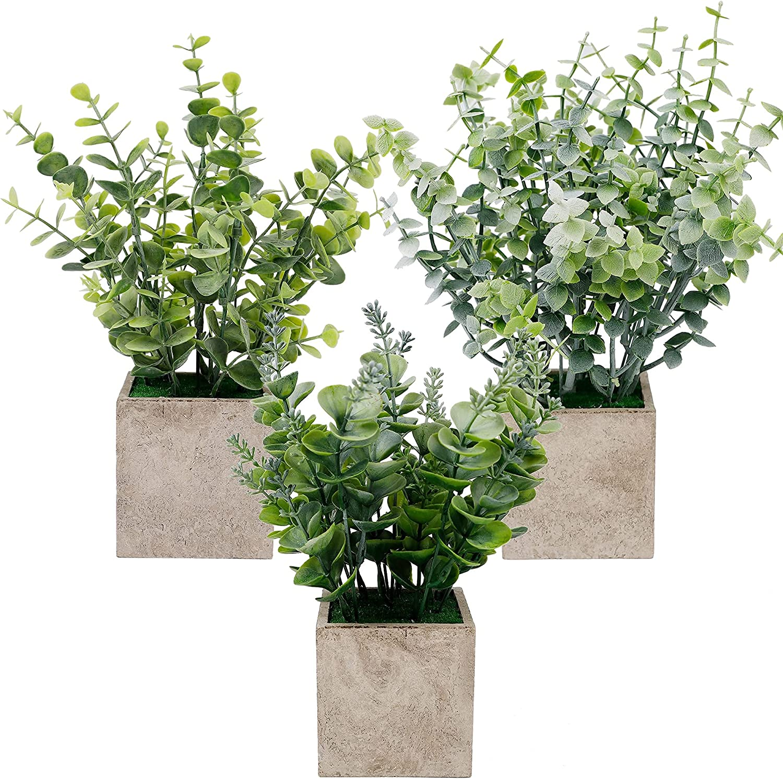 winemana Mini Potted Artificial Plants, Faux Plastic Eucalyptus Greenery in Pots, Green Plants Decor for Home Bathroom Office Farmhouse Desk Shelf Centerpiece Decoration, Set of 3