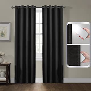 Maytex Smart Curtains Sheridan 100 Percent Blackout Window Panel, 50 x 84, 50 inches x 84 inches, Black