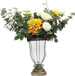NCYP Vintage Antique Renaissance Classic Glass Vase with Iron Bronze Colored Metal Base and Lace Edge Wedding Decoration