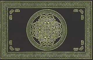 Handmade Cotton Celtic Circle Wheel of Life Tapestry Bedspread King Green Black