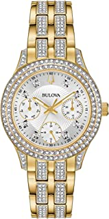 """Bulova""""Swarovski Crystal"""" - Reloj casual de cuarzo para mujer, tono dorado, acero inoxidable, color: dorado (modelo: 98N112)"""