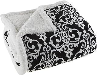 Lavish Home Black/White Fleece Sherpa Throw Blanket-Damask
