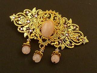 Pinza para el pelo grande de gemas con cuarzo rosa en oro rosa