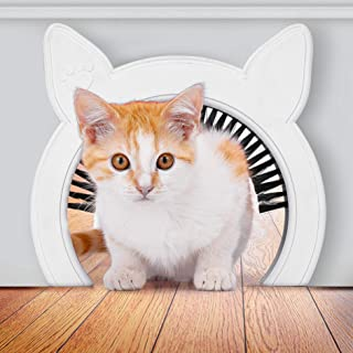 PAWSM Cat Door Removable Brush Grooms Kitty | Hides Litter Box from Kids and Dog | Cat Doors for Interior Doors | Pink or White