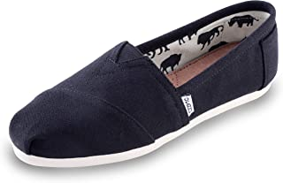HSYZZY Women's Canvas Shoes Slip-on Ballet Flats Classic Casual Sneakers Daily Loafers Black