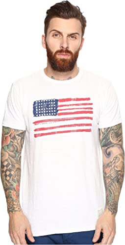 The Original Retro Brand - American Flag Short Sleeve Slub Tee