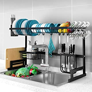 Artiss Dish Drying Rack   Stainless Steel Dish Rack 65cm Length   2-Tier Dish Drainer Space Saving   Cutlery Caddy Knife H...