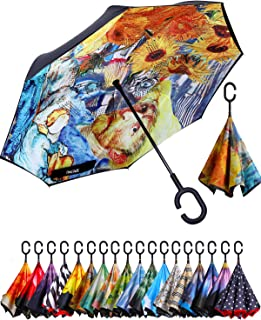 BAGAIL Double Layer Inverted Umbrellas Reverse Folding Umbrella Windproof UV Protection Big Straight Umbrella for Car Rain...
