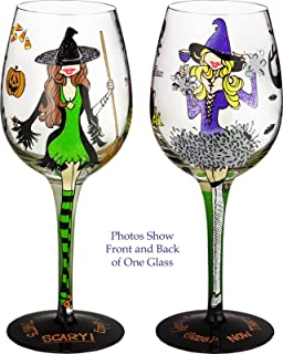 Bottom's Up 15-Ounce Hallowine Handpainted Wine Glass