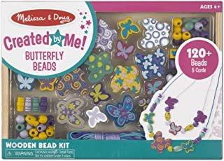 Melissa & Doug Butterfly Friends Bead Set (Arts & Crafts, Handy Wooden Tray, 120 Beads and 5 Colored Cords, Great Gift for Girls and Boys - Best for 4, 5, 6, and 7 Year Olds)