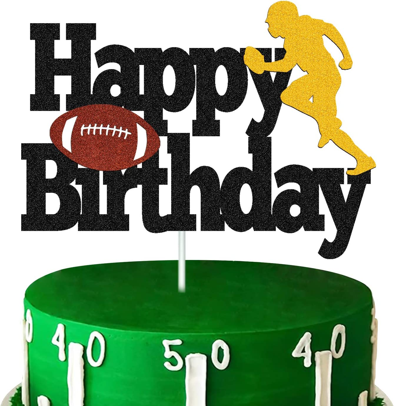 Football Cake Topper Rugby Ball Happy Birthday Cake Decorations for Man Kids Boy Girl Sport Game Day Super Bowl Touchdown Themed Party Supplies Black Sparkle Decor