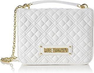 Love Moschino Precollezione ss22, Borsa a Spalla da Donna PU, New Shiny Quilted, Bianco, U