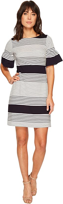 Ivanka Trump Bell Sleeve Novelty Stripe Dress
