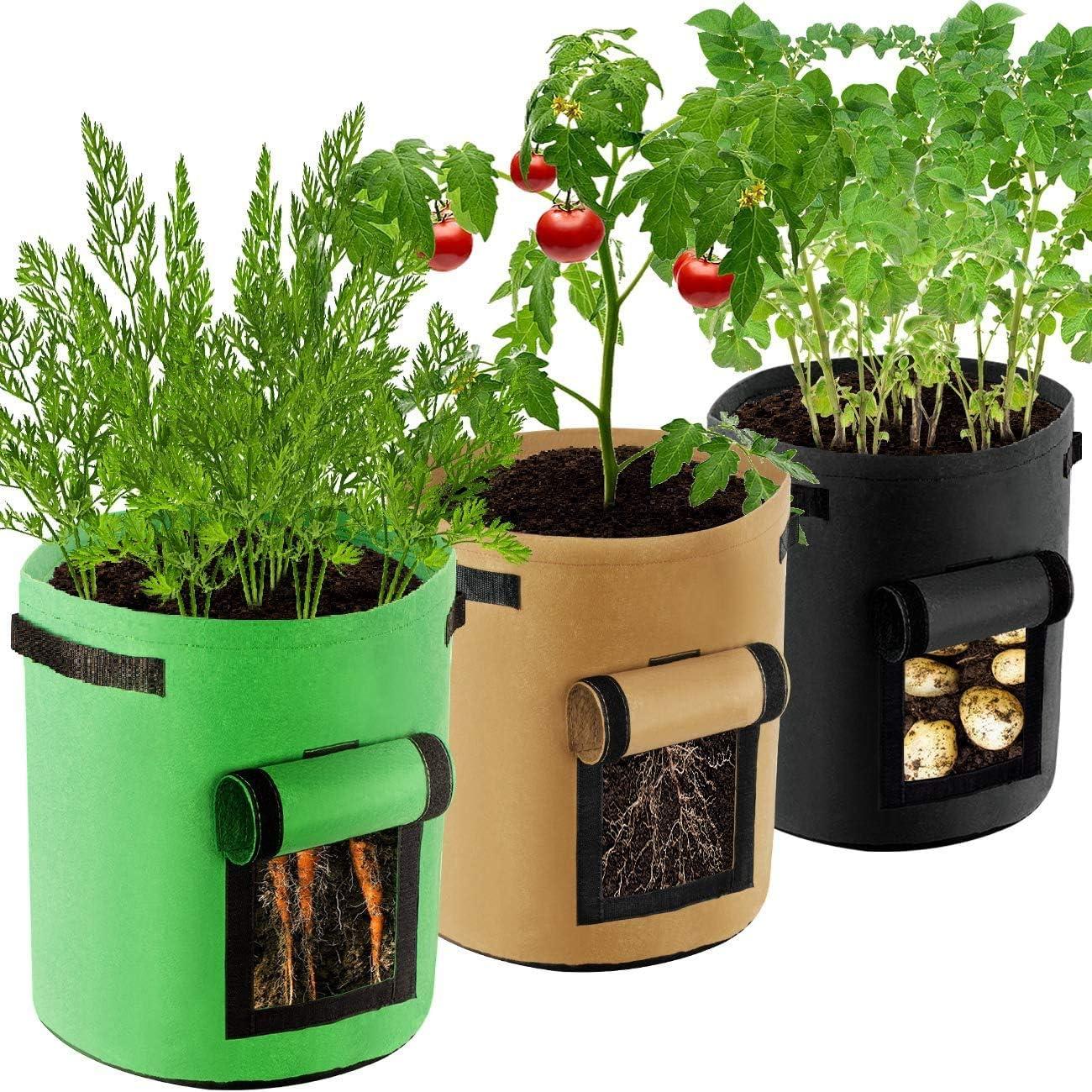 Bolsas de Cultivo de Papa-Bolsa de Cultivo de Plantas, Maceta de Cultivo de Patata, con Ventana para en Jardin para Papa, Zanahoria, Tomate y Cebolla etc (3 Pcs, 7 Galones)