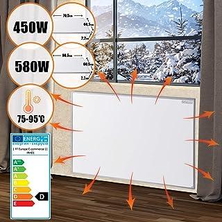 Panel de calefacción por infrarrojos - 580 W/450 W, 90 x 60 cm/70 x 60 cm, ultra plano, protección de sobrecalentamiento, bajo consumo, montaje en pared - Panel calefactor, radiante 450w