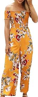 ECOWISH Womens Jumpsuits Floral Print Off Shoulder Romper Casual Strapless Wide Leg Pants Jumpsuit White S