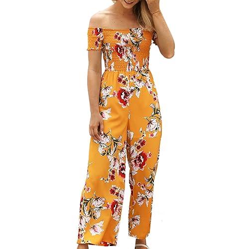 4eac104089 ECOWISH Womens Jumpsuits Floral Print Off Shoulder Romper Casual Strapless Wide  Leg Pants Jumpsuit White S