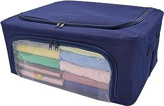 アストロ 収納ケース 衣類用 ネイビー 約48x36x20cm 2個組 ワイヤー入り 不織布 積み重ねできる 620-61