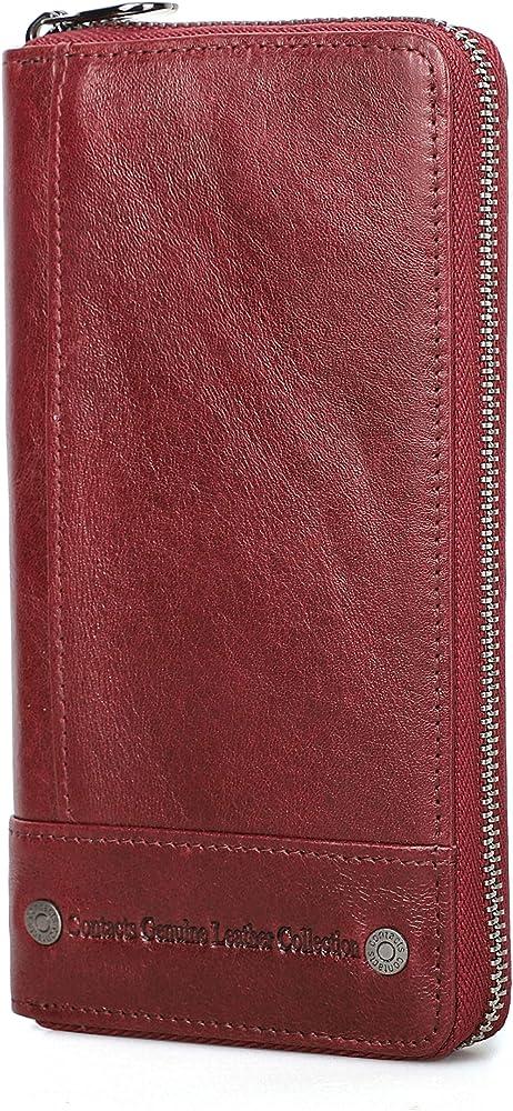 Contacts-portafoglio da donna in pelle porta carte di credito rosso 2