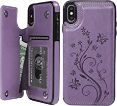 SUPWALL iPhone X Card Holder Case, iPhone Xs Wallet Case PU Leather Kickstand Cover TPU Shockproof Shell with Credit Card Slot Durable Protective Skin for iPhone X & iPhone Xs, Purple
