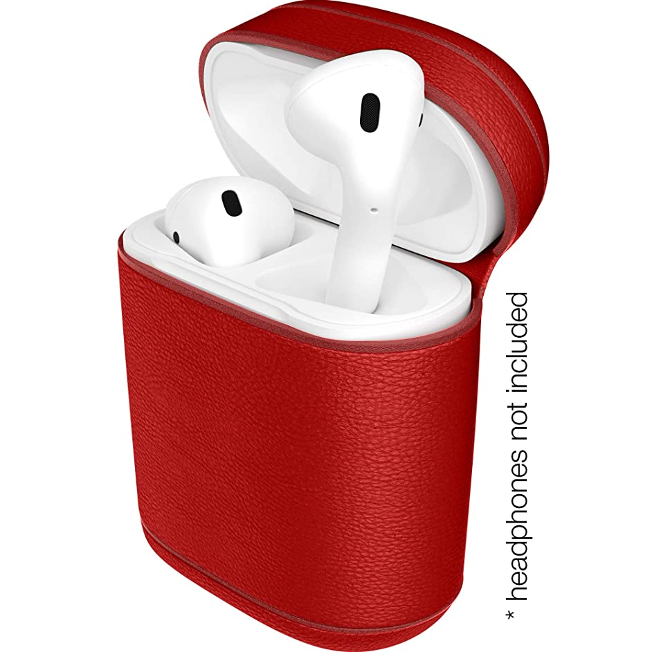 Heavy-Duty Apple AirPods Leather Case by Viosteria | Shockproof Cover in 4 Smart, Portable & Practical Protection Pouch w/Lightning Port Access (Red)
