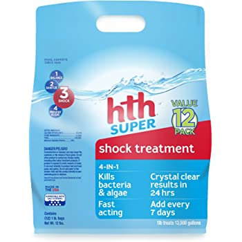 HTH 52016 Super Shock Treatment Swimming Pool Cleanser, Pack of 12