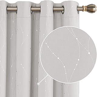 Deconovo Cortina Opaca para Habitación Térmica Aislante con Ojales 2 Piezas 145 x 175 cm Beige Claro