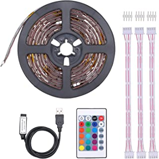 USB TV LEDs Backlight Straps Lights for 40-60in TV Dimmable Strips Light 16 RGBW Colors & 4 Lighting Modes with Infrared Remote Control