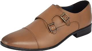 Auserio Men's Tan Genuine Leather Monk Strap Shoes
