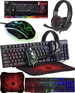 Gaming Keyboard and Mouse and Mouse pad and Gaming Headset, Wired LED RGB Backlight Bundle for PC...