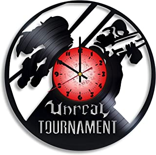 Unreal Tournament Computer Game Logo Handmade Vinyl Record Wall Clock, Unreal Tournament Kitchen Decor, Unreal Tournament Gift for him and her